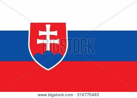Slovakia National Flag. The Flag Of Slovakia. Bratislava. Vector Illustration