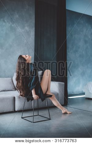 Sexy Beautiful Brunette Woman In  Black Underclothes. Stock Photo