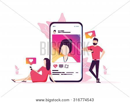 Social Media Marketing Vector Concept Illustration, Happy Woman And Men Give Like Comment On Social