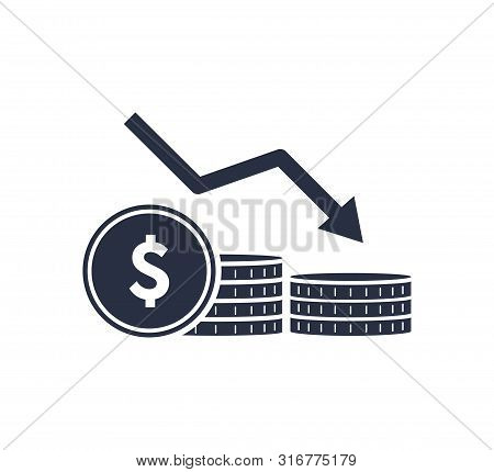 Money Reduction Line Icon. Stacks Of Coins, Cash, Graph, Arrow Down. Investment Concept. Vector Illu