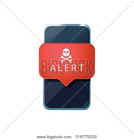 poster of Mobile phone virus alert. Malware smartphone scam phishing security error skull message. Malware notification on smartphone vector, flat style mobile phone with skull bones bubble red alert, insecure