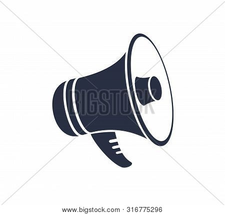 Megaphone Icon For Graphic And Web Design. Promotion Related Vector Solid Icon. Isolated On White Ba