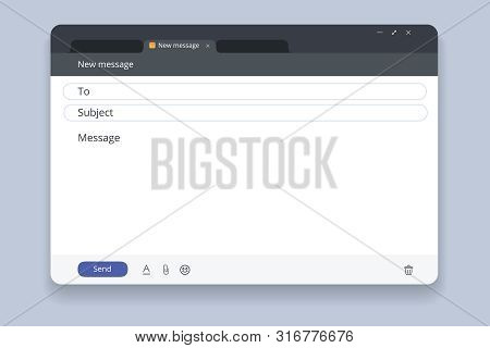 Email Template Or Blank E-mail Browser Window Vector Icon. Email Interface. Mail Window Template, In
