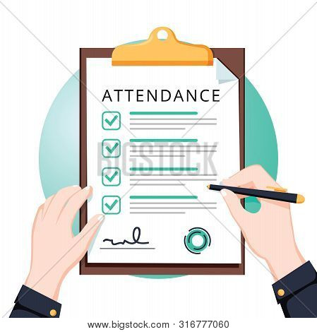 Attendance Concept. Businessman Holding Document. Vector Flat Design. Man Hold Document Clipboard Wi
