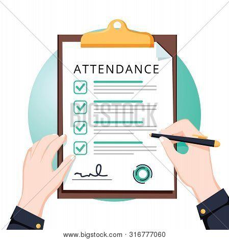 Attendance Concept. Businessman Holding Document. Vector Flat Design. Man Hold Document Clipboard Wi