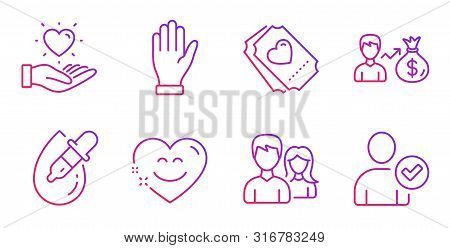 Couple, Hand And Eye Drops Line Icons Set. Hold Heart, Sallary And Smile Chat Signs. Love Ticket, Id