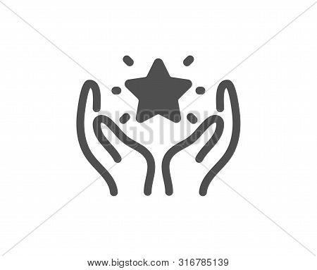 Holding Star Sign. Ranking Icon. Best Rank Symbol. Classic Flat Style. Simple Ranking Icon. Vector