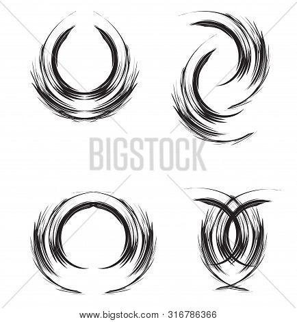 Abstract Brush, Ringlet Of Hair, Abstract Moon And Circle
