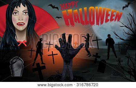 Young Vampire Woman Blood On His Lips And Zombie In Cemetery. Halloween Background. Zombie Hand Risi