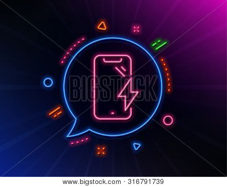 Smartphone Charging Line Icon. Neon Laser Lights. Phone Charge Sign. Mobile Device Energy Symbol. Gl