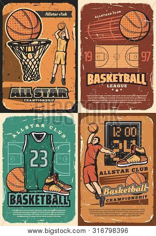 Basketball Game Sport Club Players With Vector Halftone Orange Balls, Basket And Hoop On Court, Scor