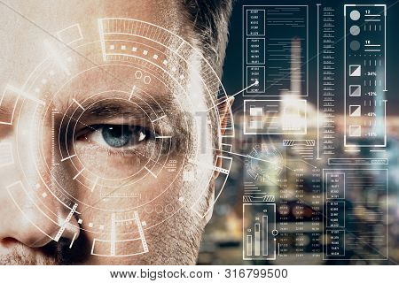 Human Being Futuristic Vision Concept With Man And Cyberspace Screen With Digital Data.