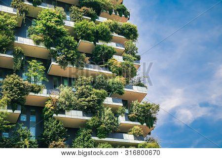 Green Futuristic Skyscraper Bosco Verticale, Vertical Forest Apartment Building With Gardens On Balc