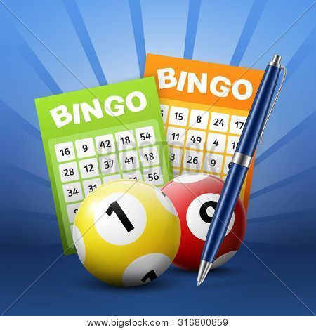 Lottery Balls And Bingo Tickets 3d Vector Design. Lotto And Keno Gambling Sport Game Betting Slips W