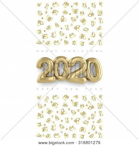 Merry Christmas And Happy New Year 2020 Vector Gold Design