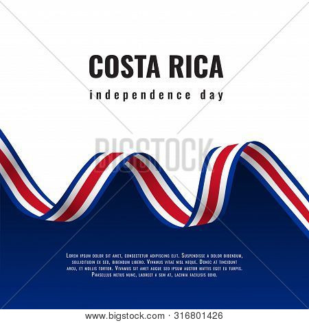 Costa Rica Independence Day Ribbon Banner Illustration
