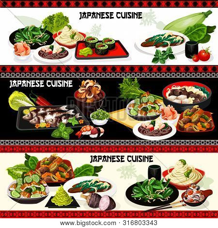 Japanese Cuisine Vector Design Of Asian Seafood Dishes. Nigiri Sushi And Vegetable Rolls, Stewed Bee