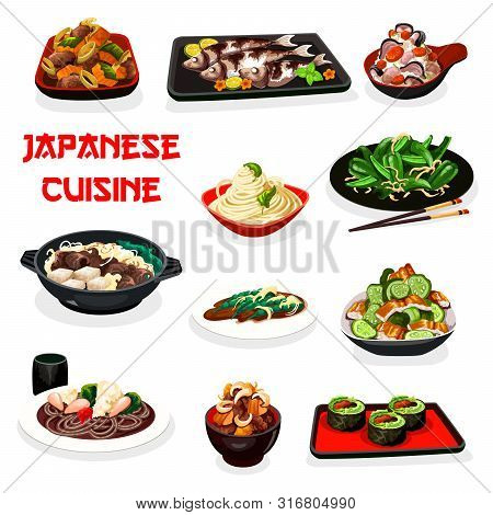 Japanese Cuisine Fish And Meat Dishes Served With Noodles And Rice. Vector Sushi Rolls, Beef Vegetab