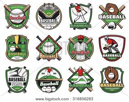 Baseball Sport Badges With Vector Players, Balls And Bats, Winner Trophy Cups And Stadium Play Field