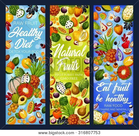 Fruit Detox Diet Vector Banners With Exotic And Tropical Berries, Health Food And Dieting Design. Ta