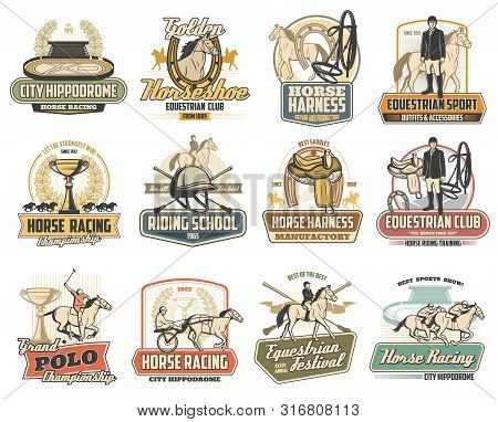 Equestrian Sport Vector Badges Of Horse Race, Polo And Riding School Design. Jockey, Racehorse And S