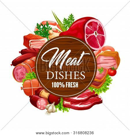 Meat Sausages With Herbs And Green Salad Leaves Vector Design. Beef Steak, Ham And Pork Salami, Baco