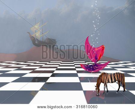 Surreal composition. Subconscious Dreams. Pink matter on chessboard, striped horse and ancient ship on sand dune. 3D rendering