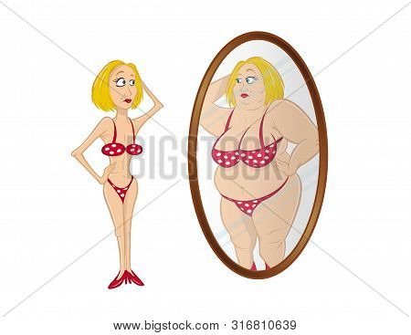Cartoon Vector Illustration Of A Skinny Anorexic Model Looking In Mirror