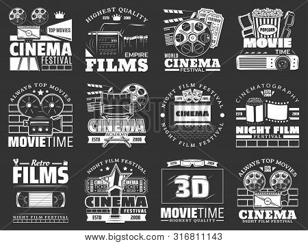 Cinema And Movie Vector Badges With Film Reel, Movie Theater And Tv Set, Popcorn, 3d Glasses And Vid