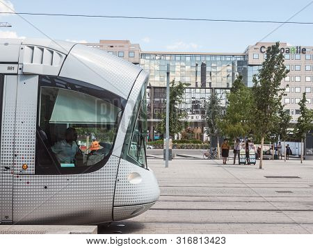 Lyon, France - July 14, 2019: Tram Waiting To Leave The Tram Stop Of Lyon Part Dieu Train Station. I