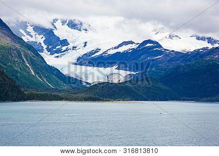 Glacier in Whittier Alaska by lake