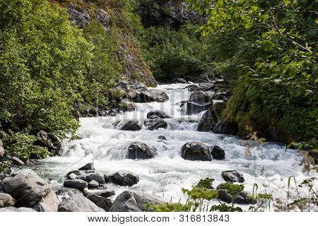 River in Whittier Alaska in summer