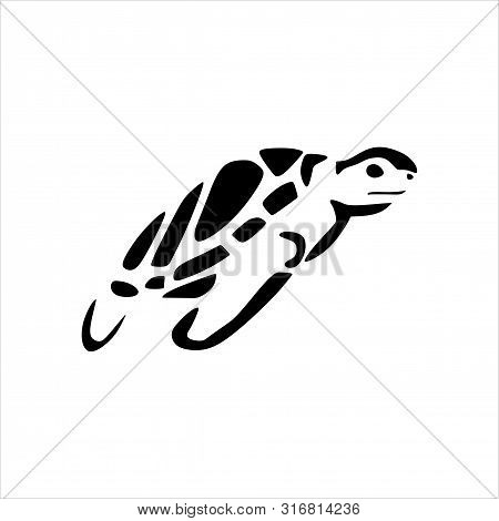 Turtle Icon. Simple Illustration Of A Tortoise Vector Icon For Web Design Isolated From A White Back