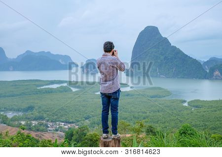 Phang Nga Province, Thailand. - May 2019 : Lonely Man With Famous Landscape View Point In Southen Of