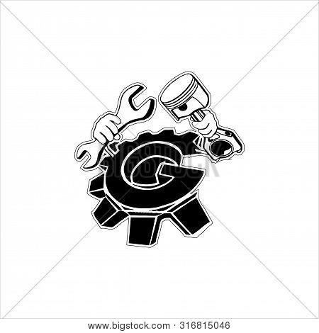 Flat Vector Engine, Illustration Of Motor Engine. Flat Vector Illustration Engine For Graphic And Dr