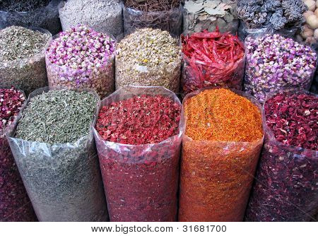Various Of Indian Colorful Powder Spices On The Market