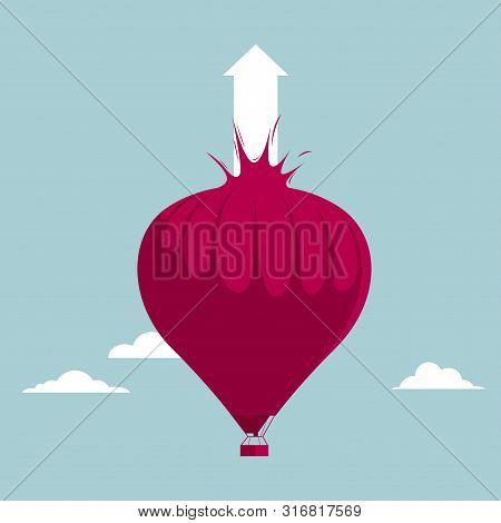 The Hot Air Balloon Was Destroyed. Isolated On Blue Background.