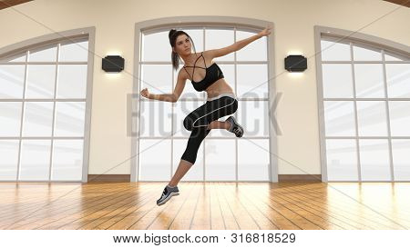 Aerobics Dance Fitness Class with Trainer Dancing Alone 3D Render