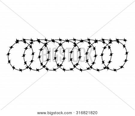 Barbed Wire Isolated. Barbwire Vector Illustration. Protective Fencing