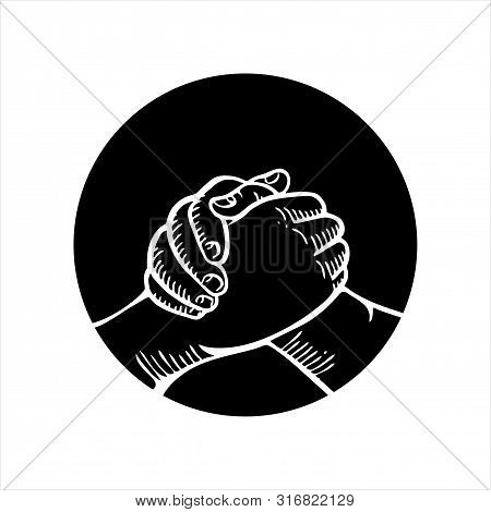 Isolated Handshake Logo On A White Background. A Handshake Icon In A Trendy Design Style For Website