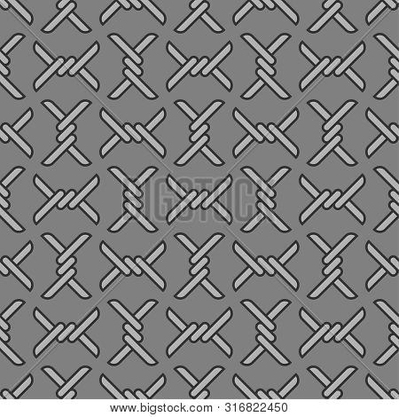 Barbed Wire Pattern Seamless. Barbwire Background. Barrage Vector Illustration