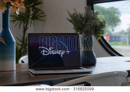 Chiangmai, Thailand - July 17,2019 : Macbook With Disney Plus On Screen. Disney+ Is An Online Video
