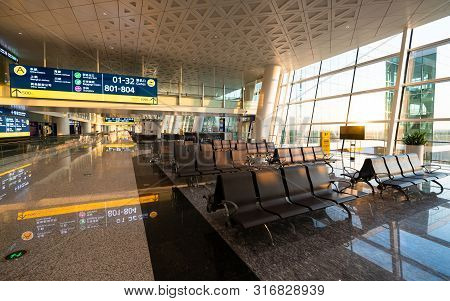 Wuhan Hubei China, 3 August 2019 : Empty Interior View Of The Wuhan Tianhe International Airport Ter
