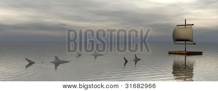 Raft And Sharks