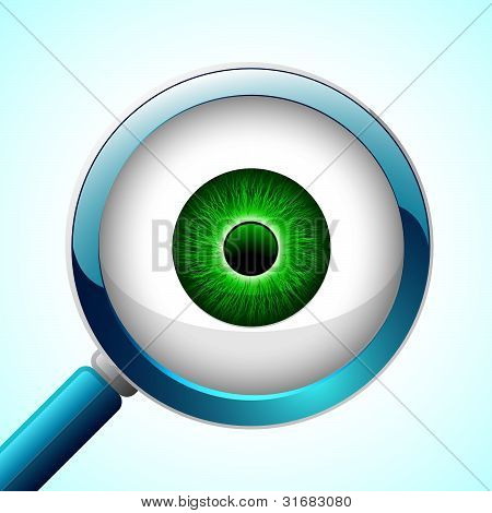 Vector Glossy Eyeball with a Magnifier