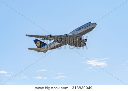 Frankfurt Germany 11.08.19 Lufthansa Boeing 747 Jumbo Jet 4-engine Jet Airliner Starting At The Frap