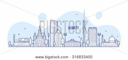 Almaty Skyline Kazakhstan Linear Art City Vector