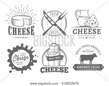 Vector Cheese Labels. Set Of Badges With Cheese Slices, Milk Jug, Cow, Plate, Knife And Fork. Vintag