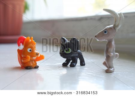 Fascinating conversation of small toys. Three little friends communicate with each other. Incredible story poster