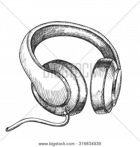 Listening Audio Device Cable Headphones Vector. Mobile Electronic Gadget Headphones For Listen Music